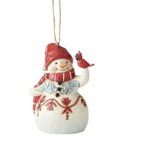 Jim Shore Mini Red & White Snowman Ornament